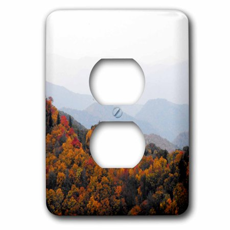 3dRose Fall in the Smokey Mountains North Carolina Mountains - 2 Plug Outlet Cover (lsp_22397_6) (Outlet North Carolina)
