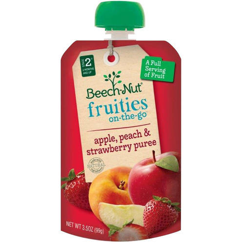 Beech-Nut Fruities on-the-Go Apple, Peach & Strawberry Puree Baby Food, 3.5 oz, (Pack of 12)