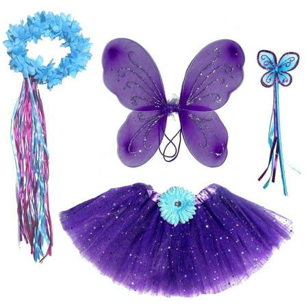 Girls 4 Piece Fairy Costume in Purple and Teal - Blue Fairy Halloween Costume