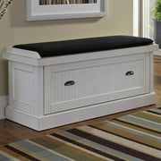 Nantucket Distressed White Upholstered Bench