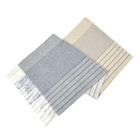 New  Brooks Brothers Men's 100% Cashmere Striped Rectangle Scarf (Ivory/Blue)