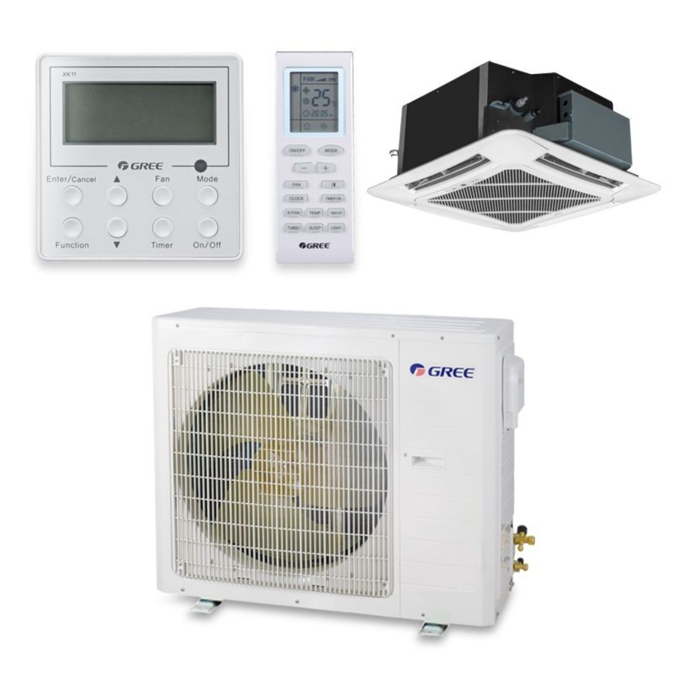 Gree UMAT30HP230V1AC-S - 30,000 BTU 16 SEER Ceiling Cassette Ductless Mini Split Air Conditioner Heat Pump 208-230V