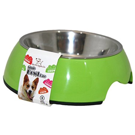 Best Pet Supplies BW01-LM-M Single Feeding Bowl with Stainless Steel Insert for Pets,