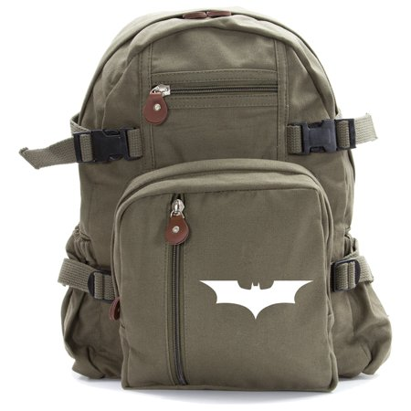 The Dark Knight Batman Logo Canvas Military Backpack School Bag Luggage Daypack (Batman School Supplies)