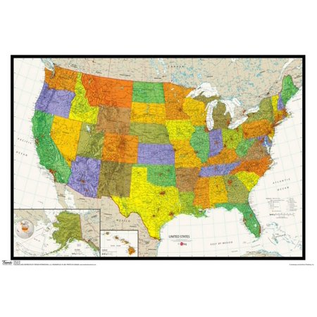 United States Map Physical And Political Poster - 19x12.5