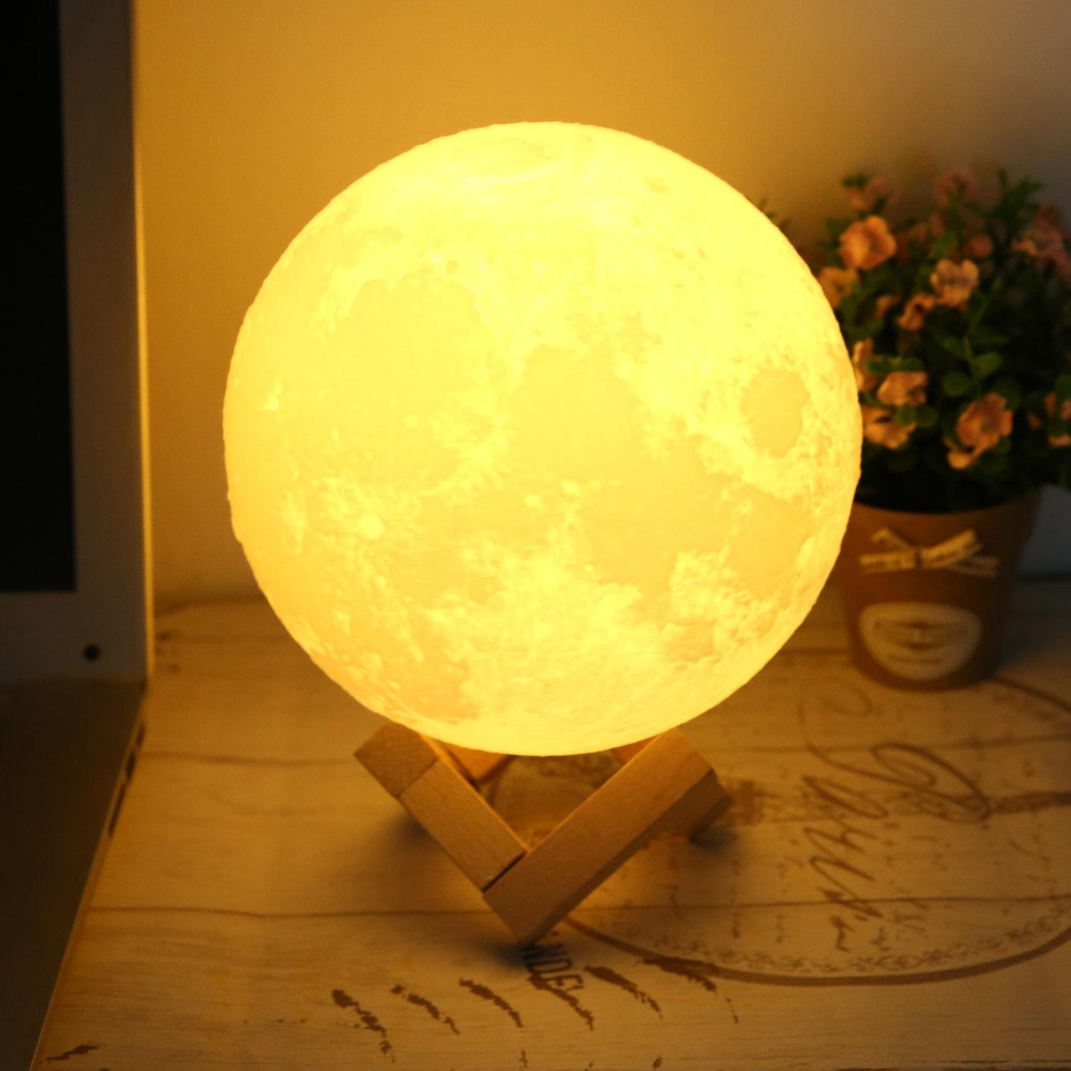 LED Table Lamp 3D Moon USB LED Night Light Moonlight Gift Touch Sensor Color Changing  CEAER