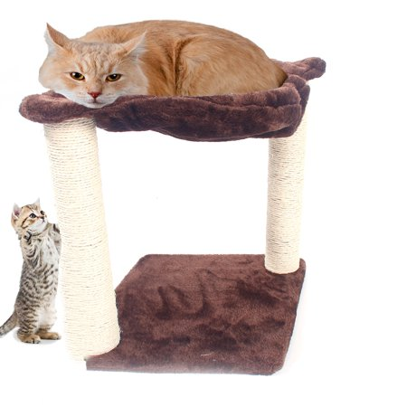 Natural Sisal Rope Perch - Zimtown Cat Trees - Kitty Bed Furniture, Kitten Climb Stand, with Perch, Natural Sisal Ropes Scratching Post, 16 Inches, Brown