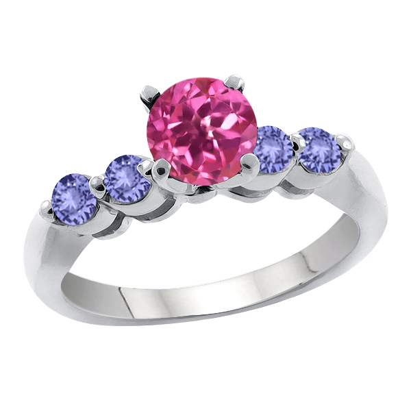 1.32 Ct Round Pink Mystic Topaz Blue Tanzanite 18K White Gold Engagement Ring by