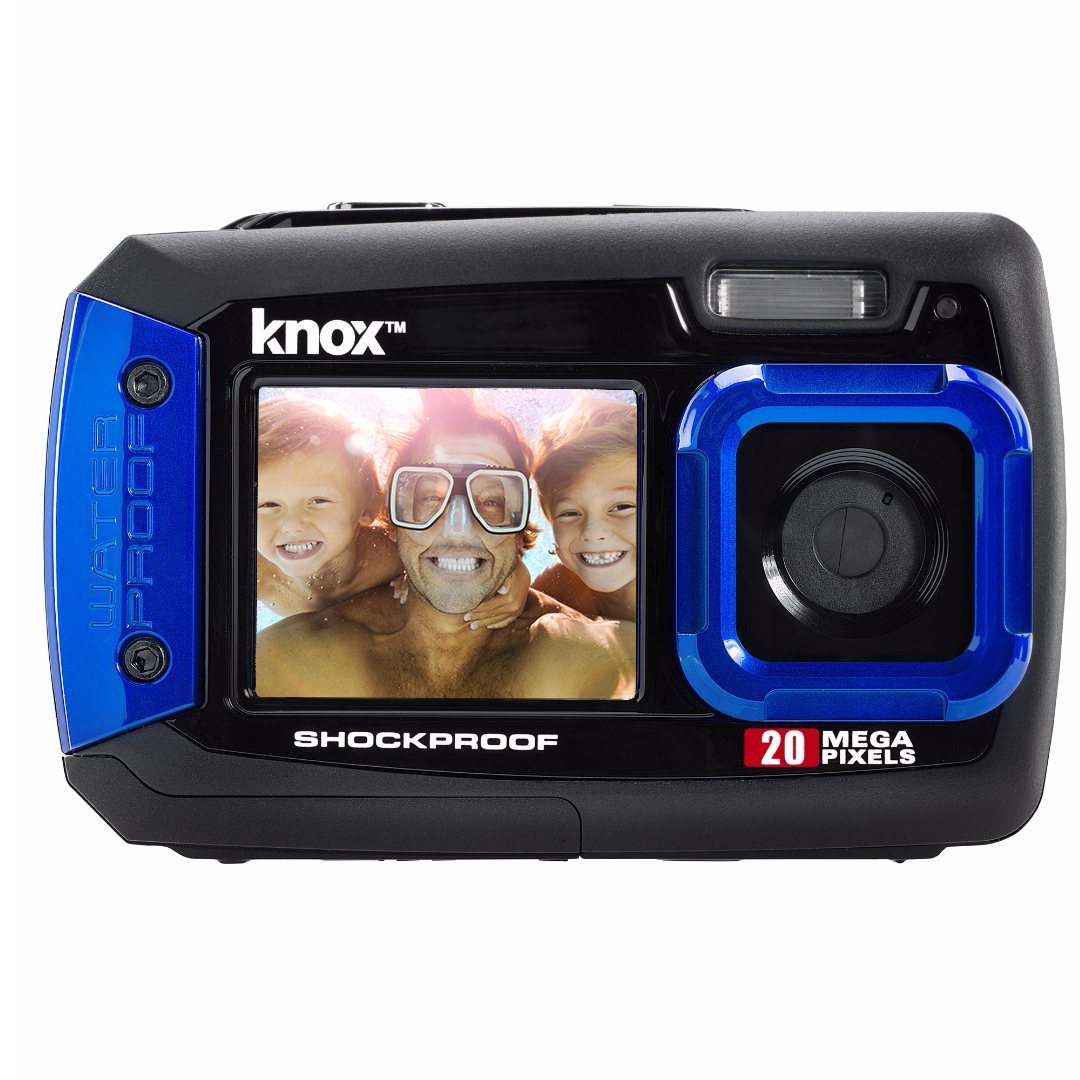 Knox Gear Dual-Screen 20MP Rugged Underwater Digital Camera with Video (Blue)