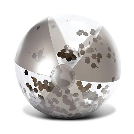 Halloween Parade Float Themes (Cota Global Inflatable Pool Beach Ball Accessory Silver Confetti 16 Inches, Premium Elegant Heavy Duty Vinyl Pool Toy, For the Beach, Party, Vacation, UV Resistant – Pool Party)