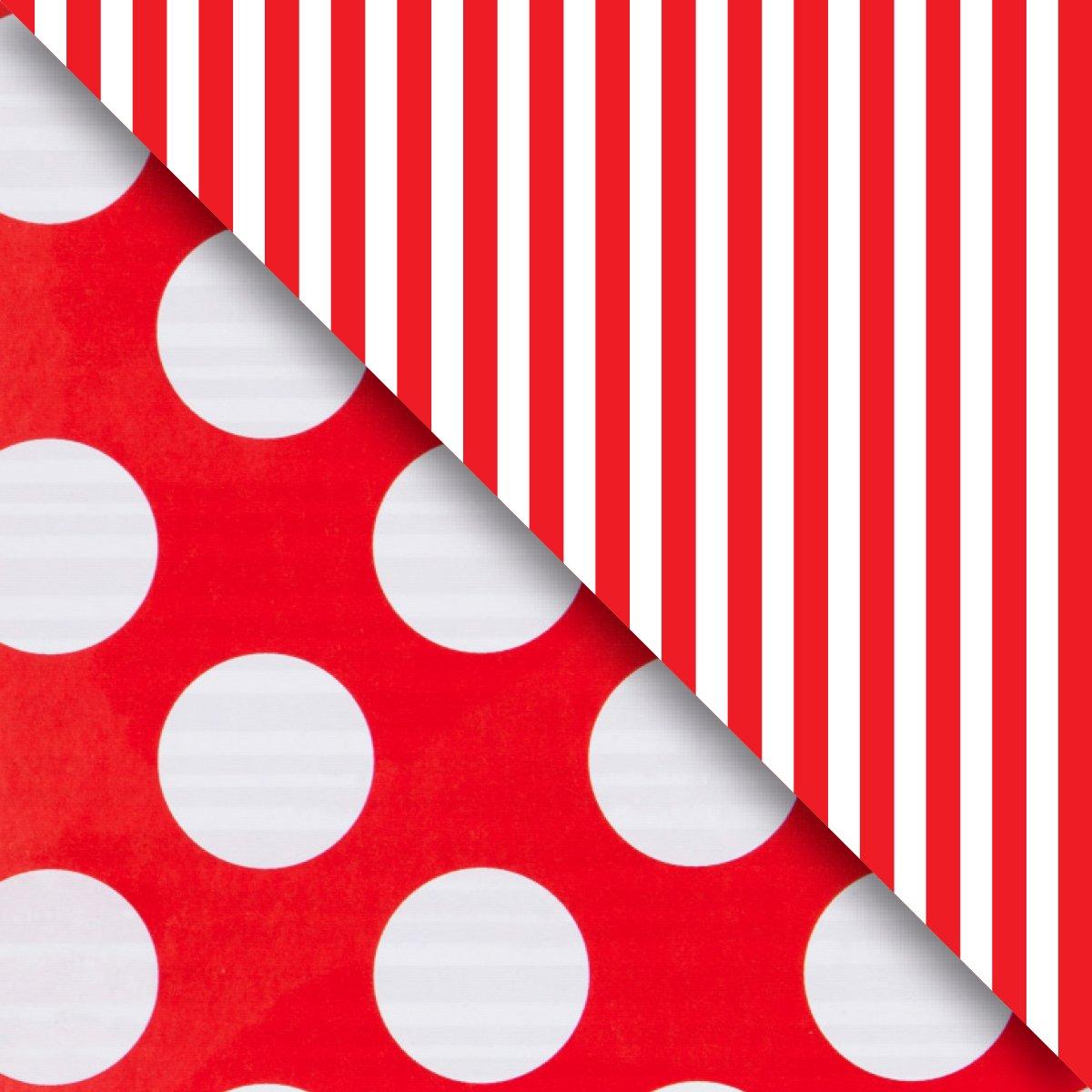 """Jillson & Roberts Bulk Gift Wrap, Two-Sided Red Dot & Stripe, Full Ream 833' x 30"""""""