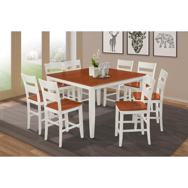 Sunderland 9 Piece Counter Height Dining Set Table With 18 Butterfly Leaf Finish White Cherry Shape Square Walmart Com Walmart Com