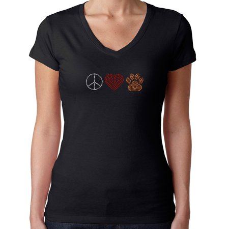 Womens T-Shirt Rhinestone Bling Black Tee Peace Sign Love Heart Dog Paw V-Neck XX-Large
