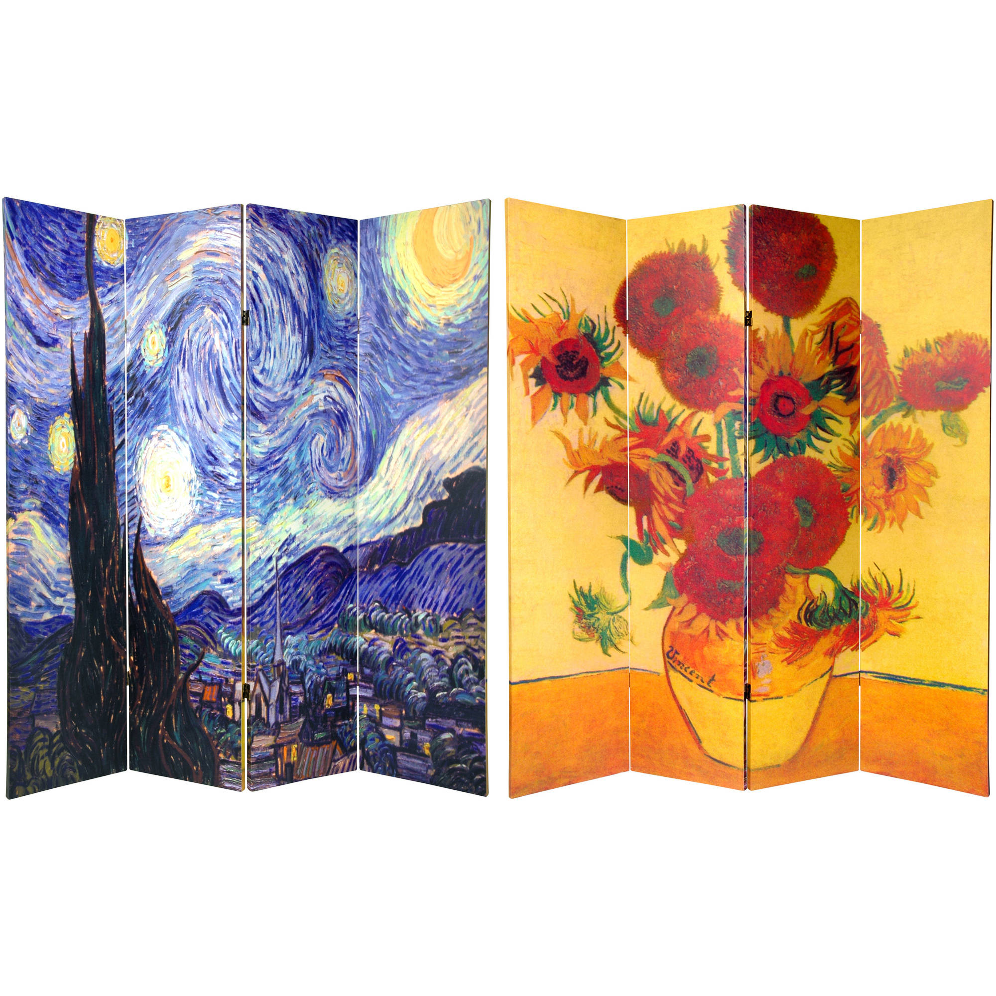 6' Tall Double Sided Works of Van Gogh Canvas Room Divider 4 Panel