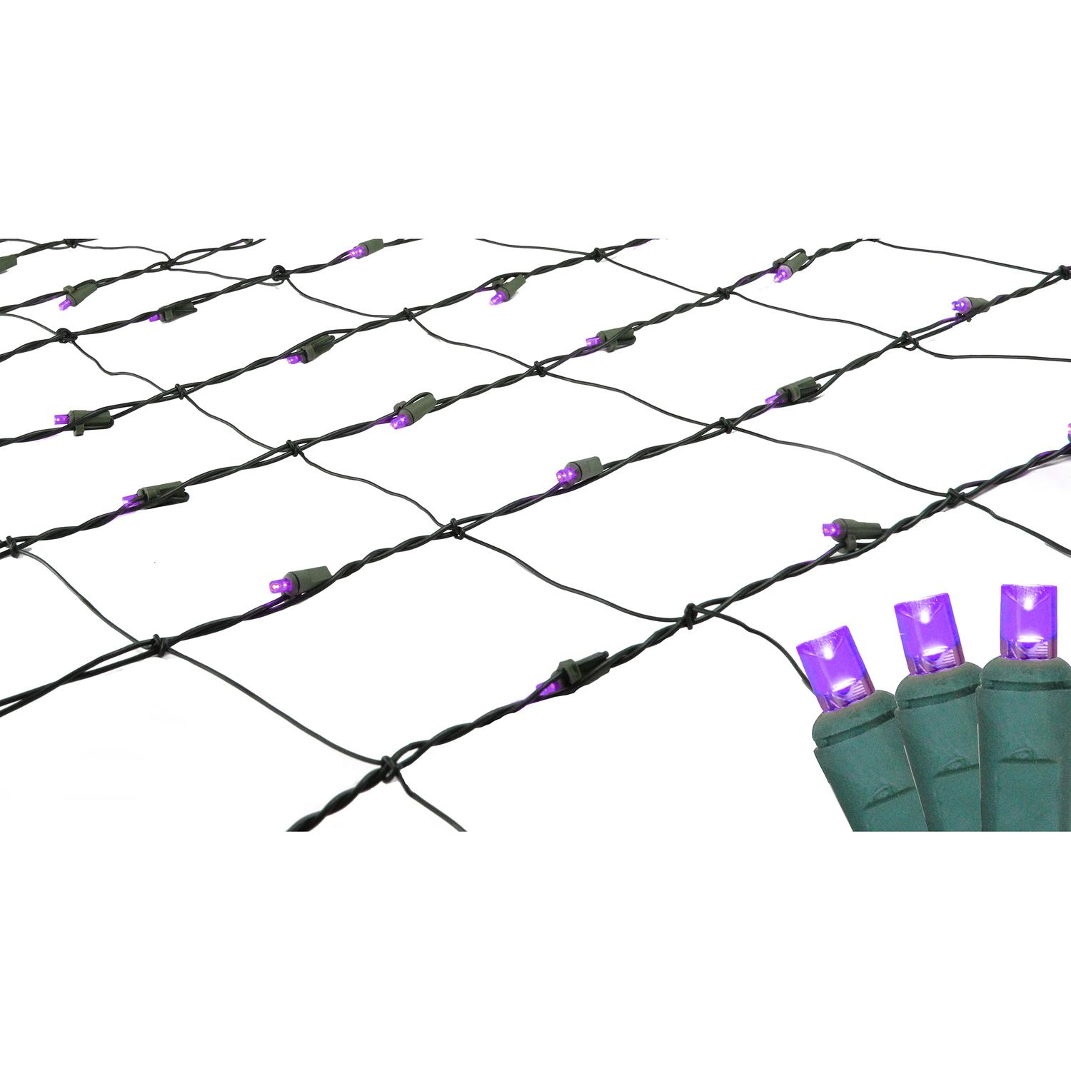 4' x 6' Purple LED Net Style Christmas Lights - Green Wire