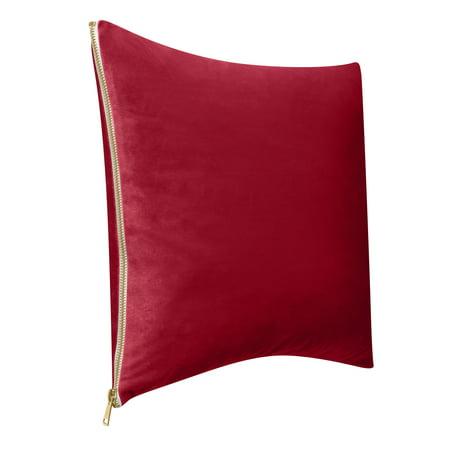 """Better Homes & Gardens Feather Filled Velvet & Gold Zipper Decorative Throw Pillow, 18""""x18"""""""