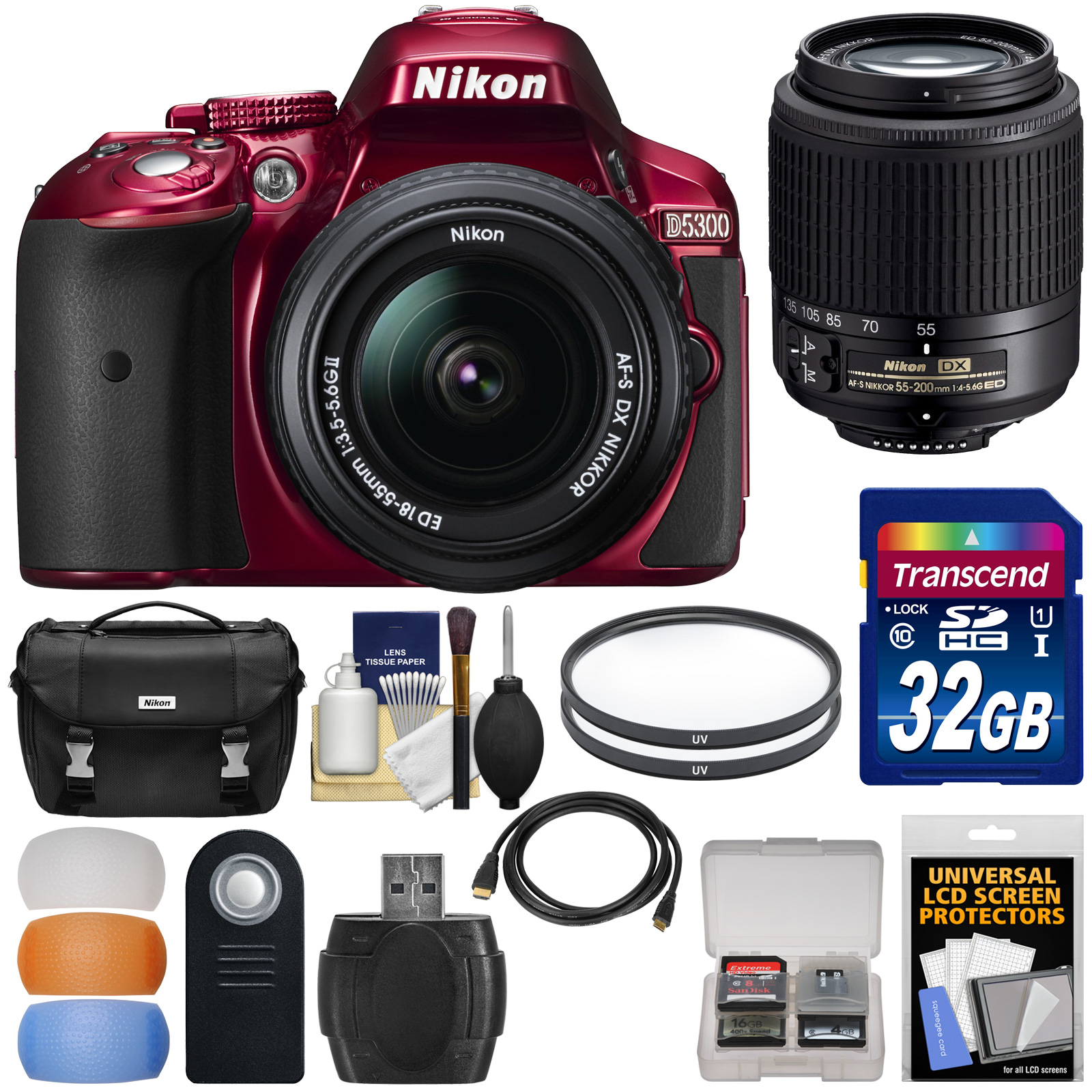 Nikon D5300 Digital SLR Camera & 18-55mm G DX II AF-S Zoom (Red) with 55-200mm DX AF-S Lens   32GB Card   Case   Filters Kit