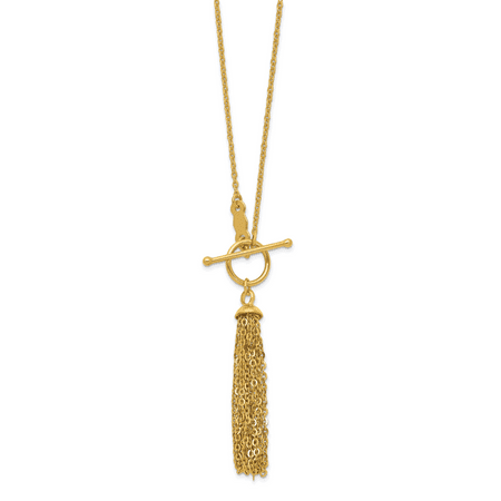 14k Yellow Gold Link Cable Chain Tassel Toggle Necklace Pendant Charm Gifts For Women For Her