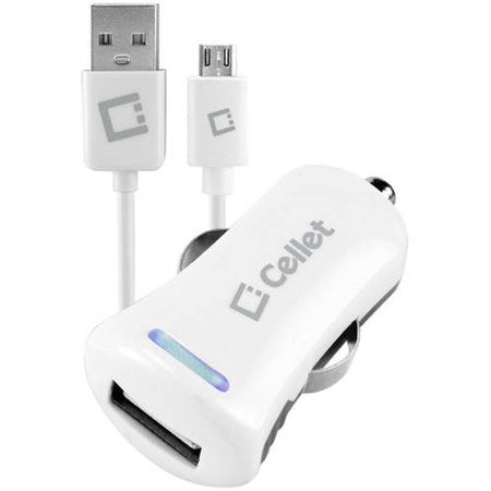 Cellet High-Powered 10-Watt (2.1-Amp) Car Charger with USB Port and microUSB Cable, White
