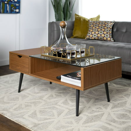 Manor Park Mid Century Modern Glass And Wood Coffee Table Acorn