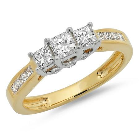 1.05 Carat (ctw) 10K Two Tone Gold Princess & Round Cut Diamond Ladies Bridal 3 Stone Engagement Ring 1 CT