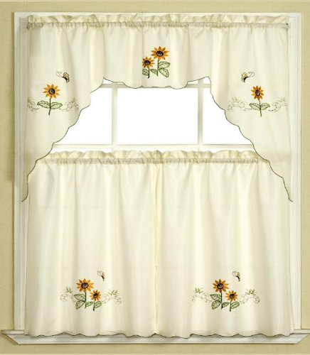 3pc Beige with Yellow Sunflower and Butterfly Kitchen/Cafe ...