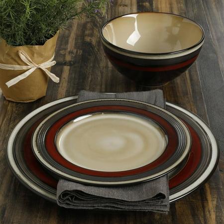 Gibson Studio Kirsten 12-Piece Red Metallic Reactive Dinnerware Set