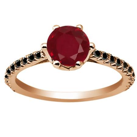 1 42 Ct Round Red Ruby Black Diamond 18K Rose Gold Engagement Ring