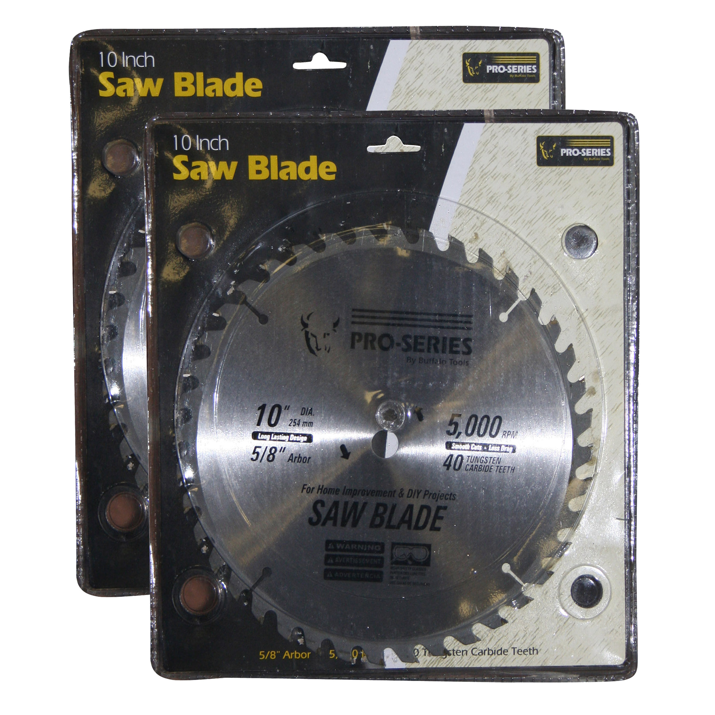 Pro-Series 2 Piece 10 Inch Carbide Tip Saw Blade Set by Buffalo Corp