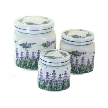Blue Rose Polish Pottery Lavender Fields 3 Piece Canister Set
