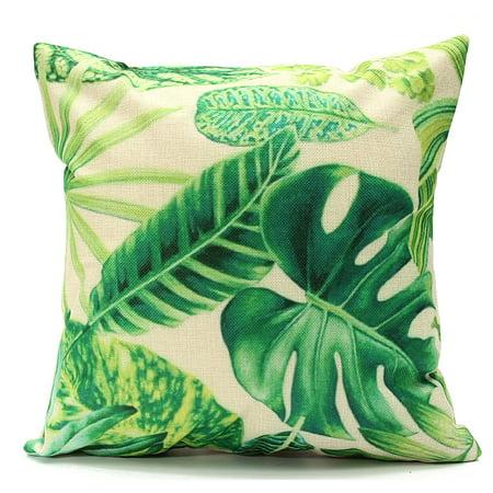 Meigar Tropical Banana Green Throw Pillow Cushion Cover 18''x18'' Cotton Linen Standard Decorative Pillowcase Pillowslip Pillow Protector Case for Sofa Couch Chair Car Seat (Tropical Sonnenbrille)