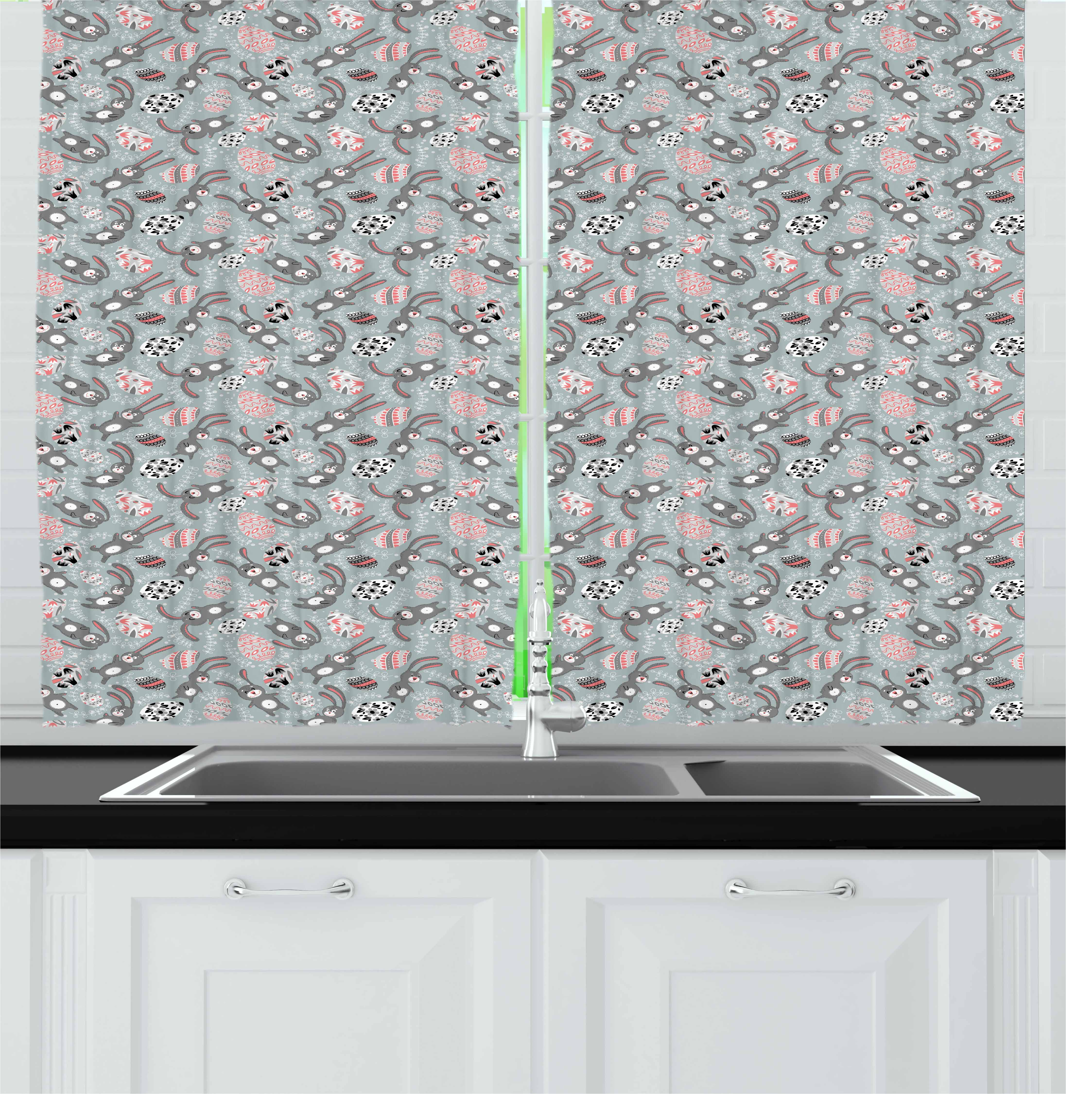 Easter Curtains 2 Panels Set, Kids Toy Bunnies with Funny Expressions Ornate Spring Branches and Eggs, Window Drapes for Living Room Bedroom, 55W X 39L Inches, Bluegrey Coral Black, by Ambesonne