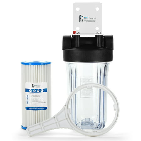 Well Water Whole House Sediment & Rust Complete Filtration System with Pleated Washable filter, Clear Housing 1