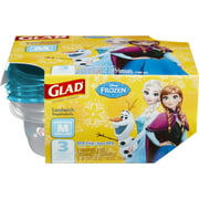 Glad Food Storage Containers - Sandwich Container - Disney Frozen - 25 oz - 3 ct