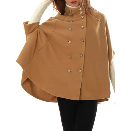 Women's Stand Collar Open Front Button Double Breasted Worsted Poncho Coat Blue (Size S / 6) Brown XL (US 18)