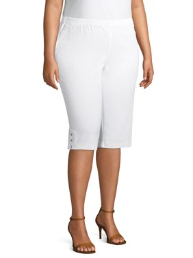 Just My Size Women's Plus Size Pull on Bling Tab Capri
