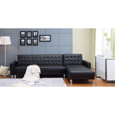 Incadozo 2PC Bi-Cast Leather Sectional Sofa Bed with Storage, Multiple (Leather Sectional Couch)