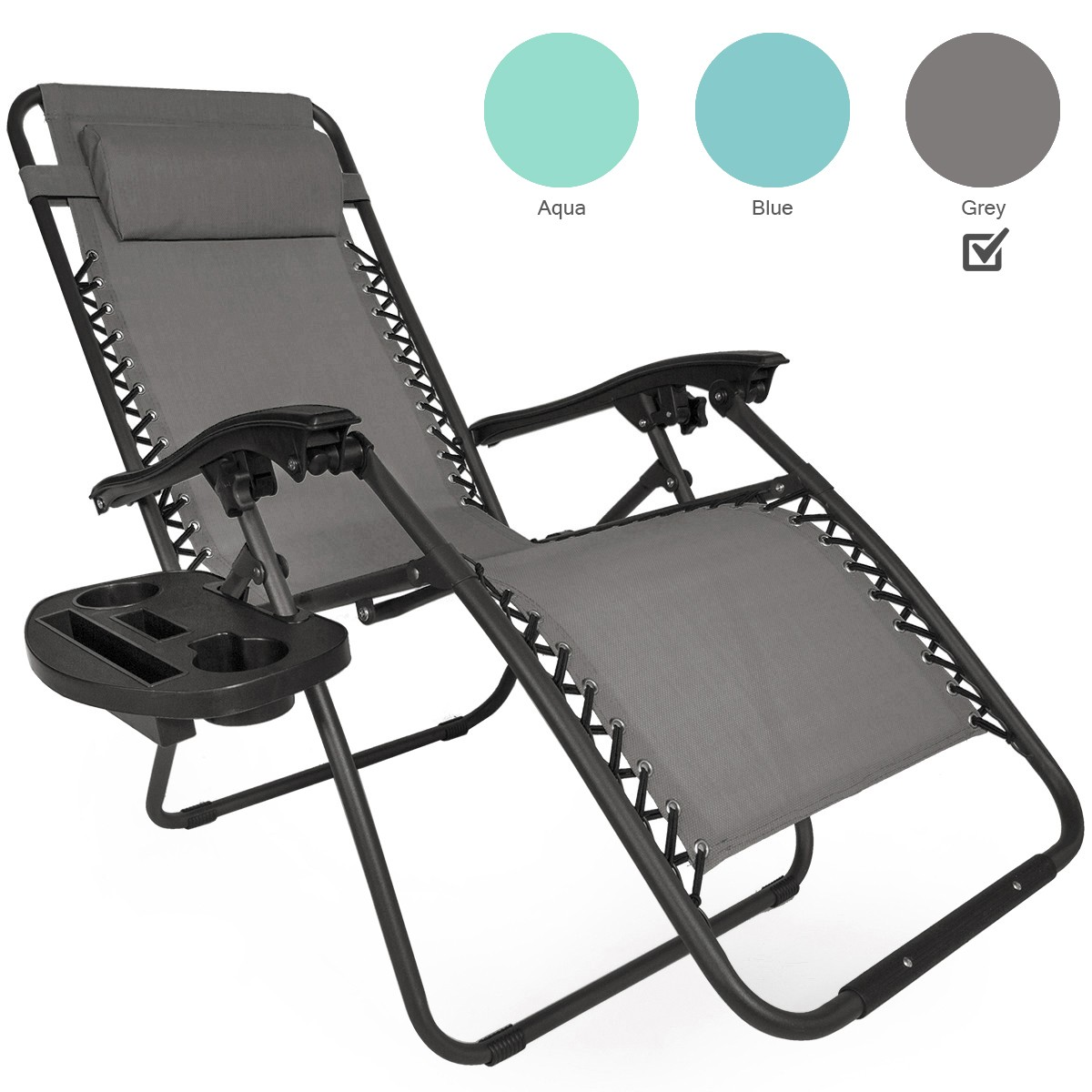 Set Of 2 Patio Zero Gravity Chair Folding Lounge With Cup