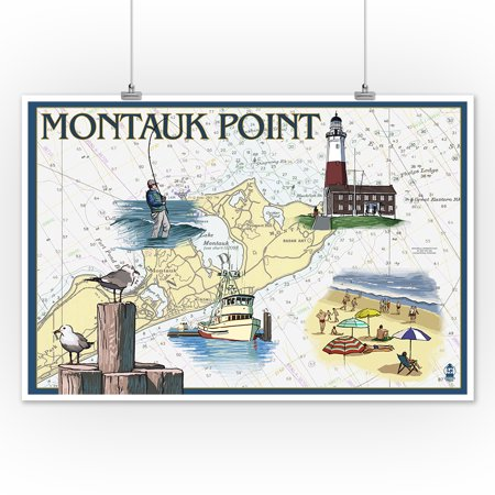 Montauk Point - Nautical Chart - Lantern Press Poster (12x18 Art Print, Wall Decor Travel Poster ...