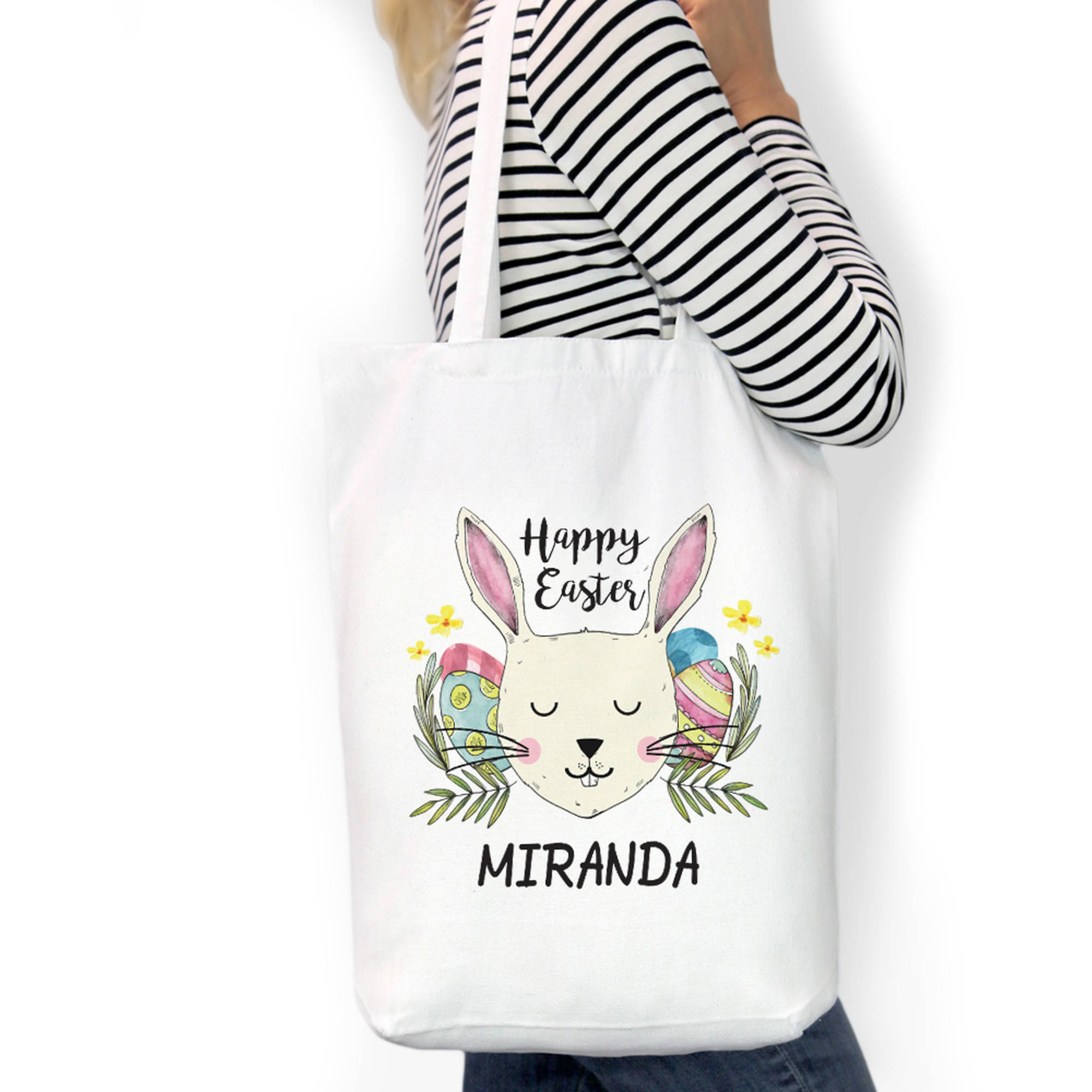 """Happy Easter Custom Cotton Tote Bag, Sizes 11"""" x 14"""" and 14.5"""" x 18"""""""