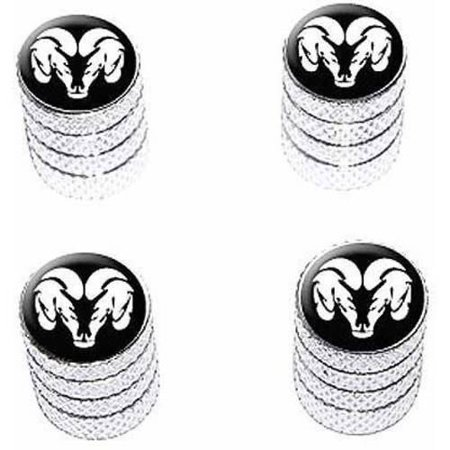 Ram Head White on Black Tire Rim Wheel Aluminum Valve Stem Caps, Multiple (Best Lubricant For Aluminum On Aluminum)