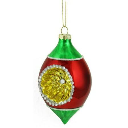 Northlight Seasonal Retro Reflector Glass Teardrop Christmas Ornament