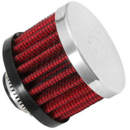 K&N Engineering 62-1330 Rubber Base Crankcase Vent Filter - 1/2in. Flange - Chrome End (Rubber Base Crankcase Vent Filter)