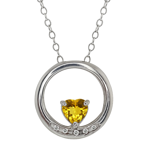 0.49 Ct Heart Shape Yellow Citrine and White Topaz 14k White Gold Pendant