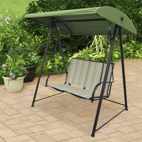Mainstays Stripe Sling Outdoor Swing, Green, Seats 2
