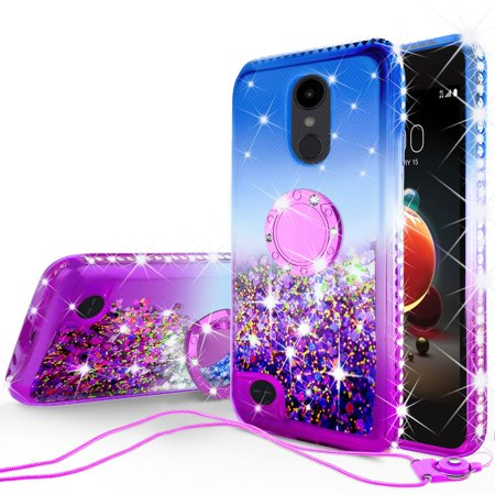 Rebel Floating - LG Aristo 2,Aristo 2 Plus,Rebel 2,Risio 3 Glitter Phone Case Kickstand Ring Stand Liquid Floating Quicksand Bling Sparkle Protective Cover for Girl Women - Blue Gradient