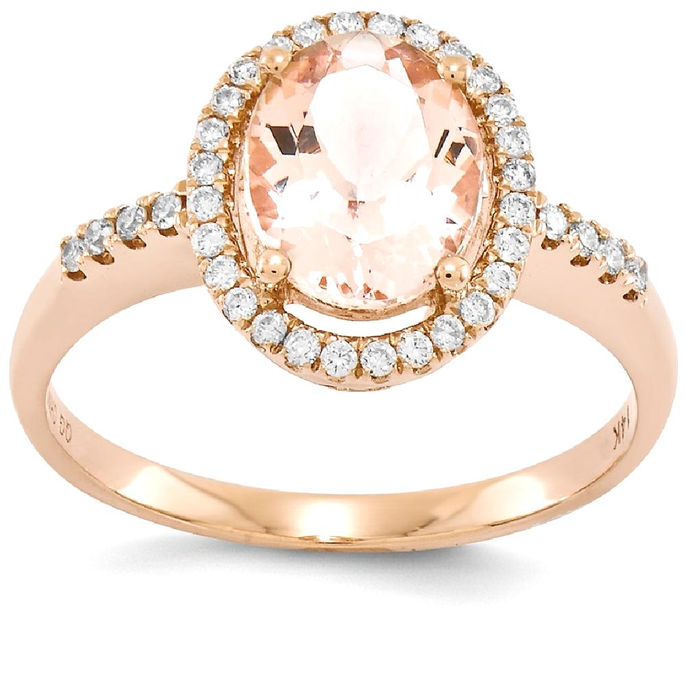 ICE CARATS 14kt Rose Gold Pink Morganite Diamond Band Ring Size 7.00 Stone Gemstone Fine Jewelry Ideal Gifts For Women... by IceCarats Designer Jewelry Gift USA
