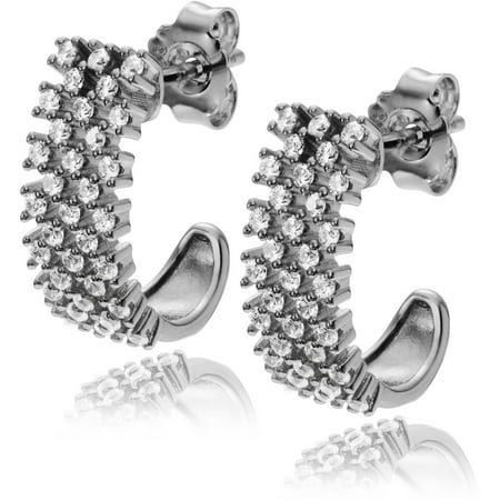 Brinley Co. Women's CZ Rhodium-plated Sterling Silver Half Hoop Earrings