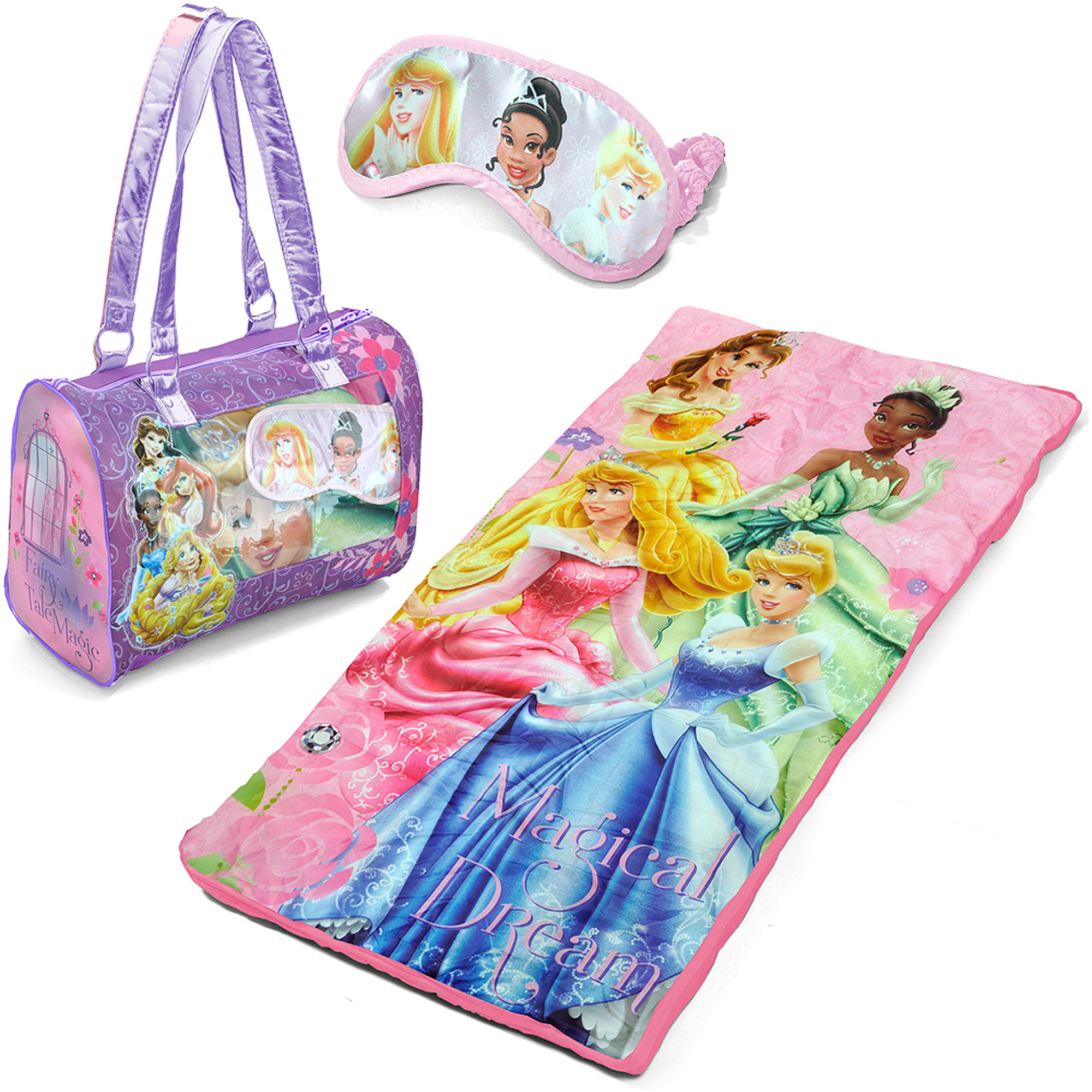 Disney Princess Sleepover Slumber Sack/Nap Mat with Purse and Bonus Eye Mask