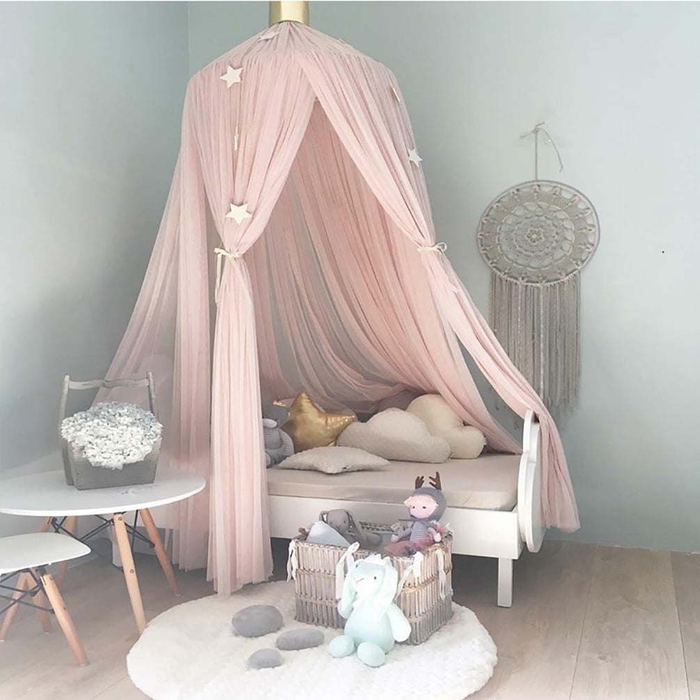 Princess Bed Canopy for Kids Baby Bed Flower Deocr Round Dome Bed Tent Kids Indoor Outdoor Play Cotton Hanging Tent House Decoration Coral Pink